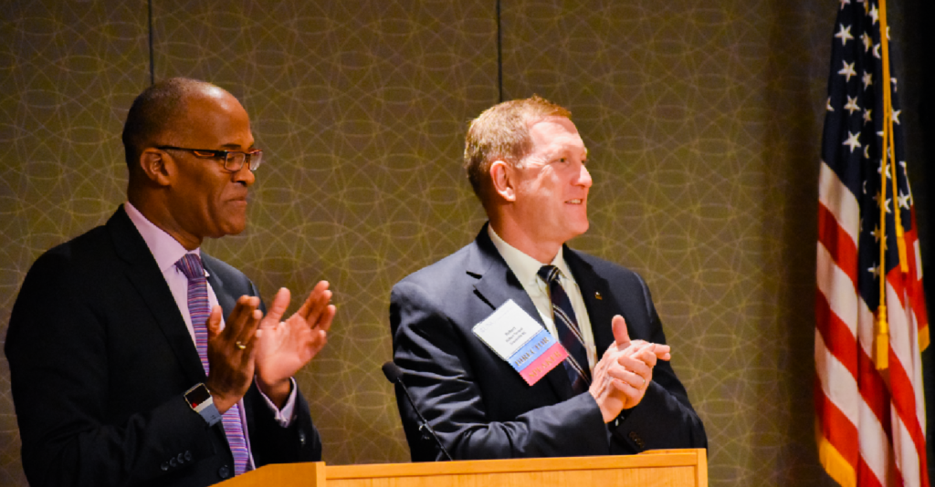 Drs. Shaun Matthews and Rob Tempel speaking at the 2020 UNC Teledentistry Symposium