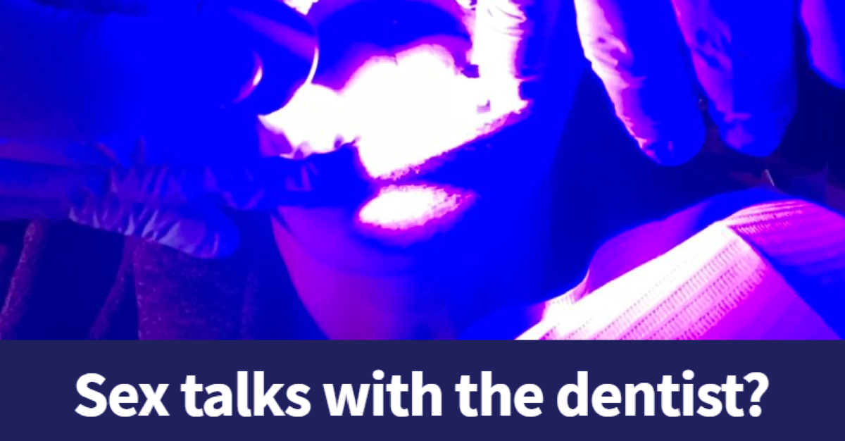 Image of dental patient under a blue light, from NC Health News headline image for HPV article