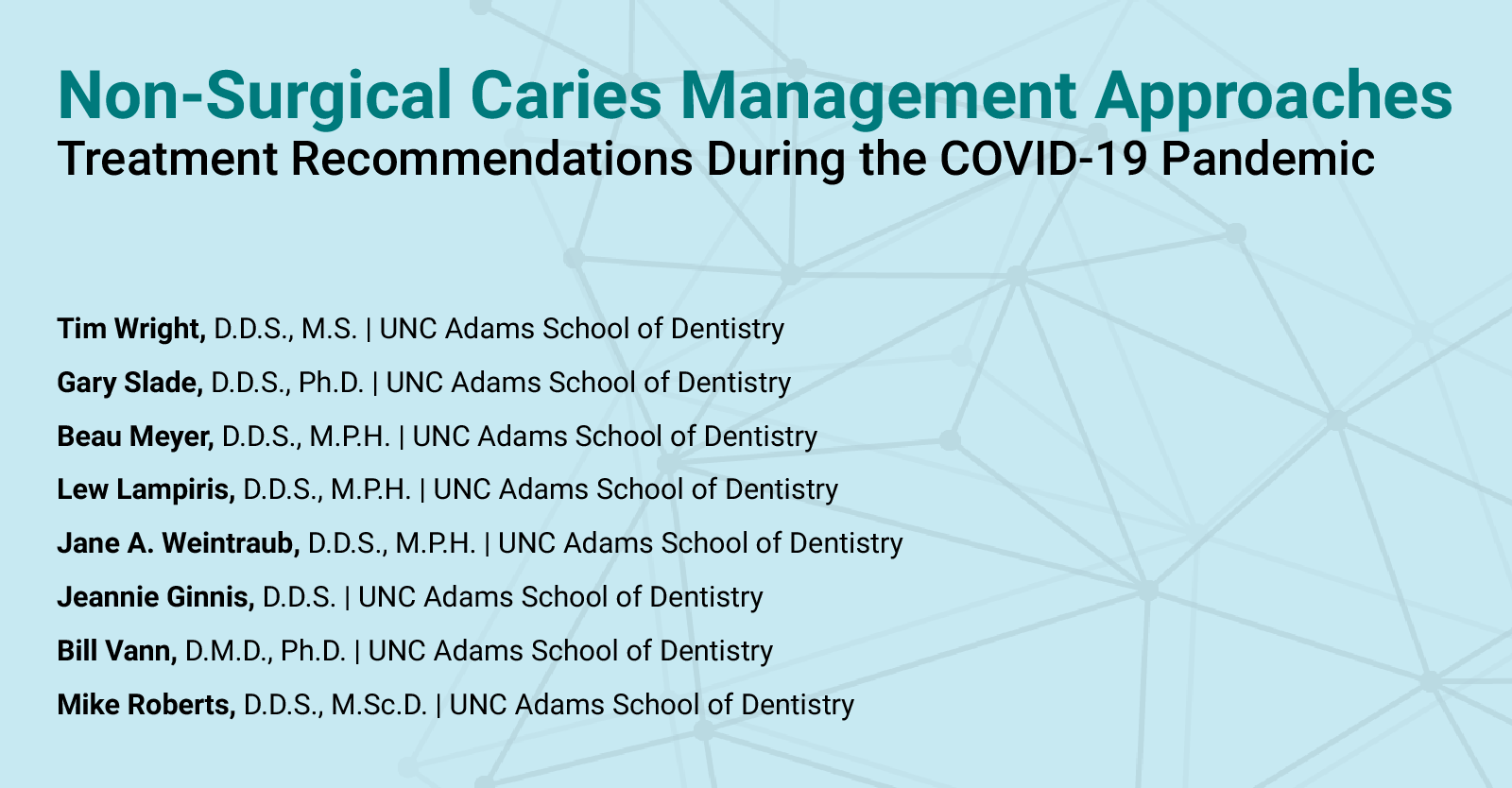 "Cover page of ""Non-Surgical Caries Management Approaches"" guidance by NCOHC and UNC Dental School professors"