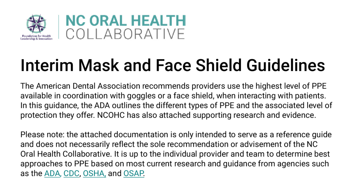 Screenshot of the top text from the interim mask and face shield guideline