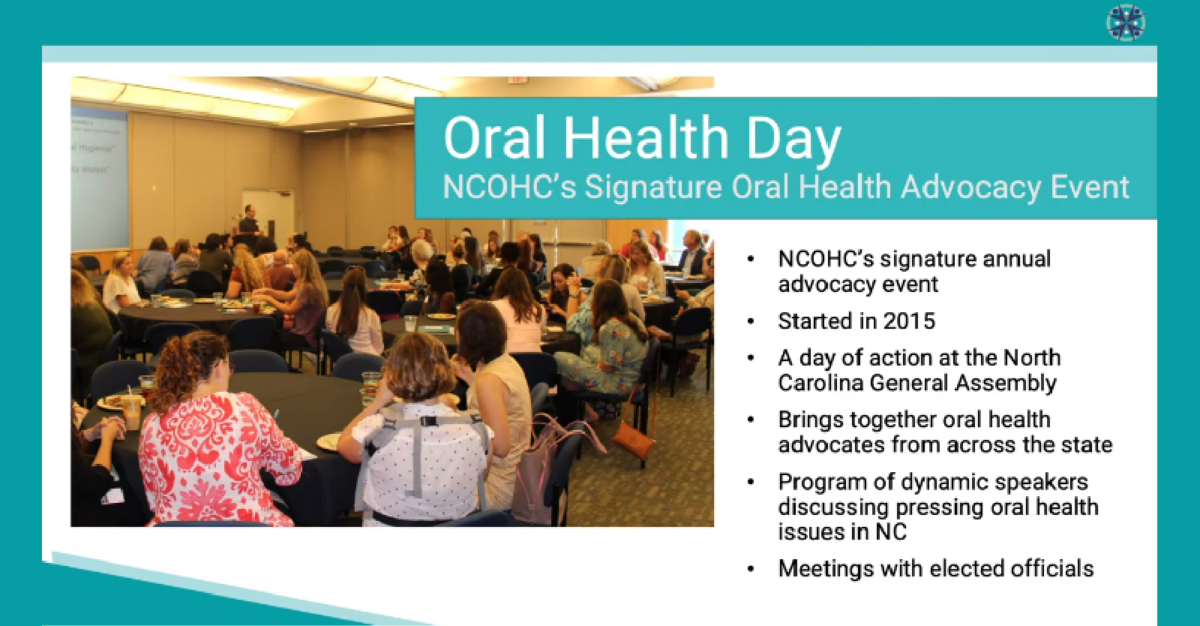 Oral Health Day opening slide from the Oral Health Day Webinar
