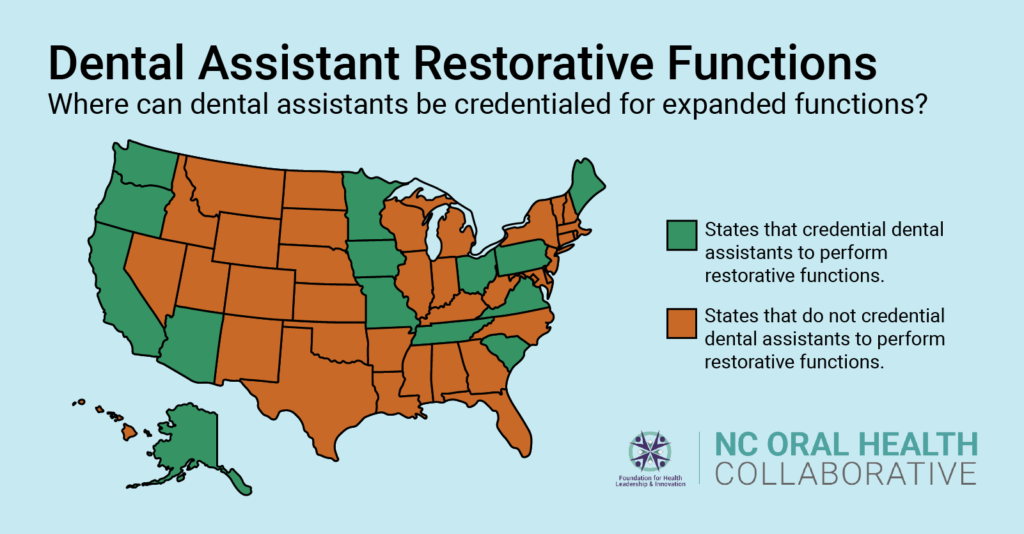 Map highlighting states in the US where dental assistants can be credentialed for expanded restorative functions