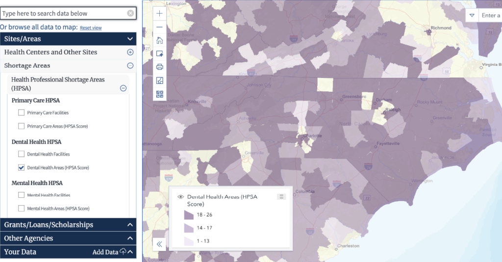 Map of dental HPSAs in NC