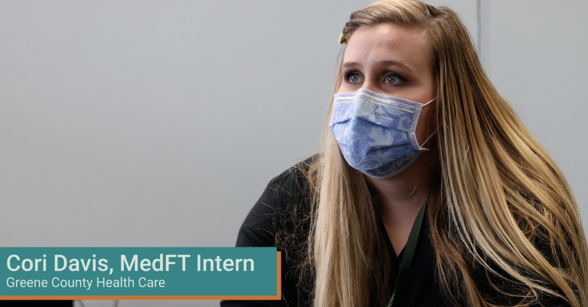 Still image from a video interview with Cori Davis, a MedFT intern with Greene County Health Care