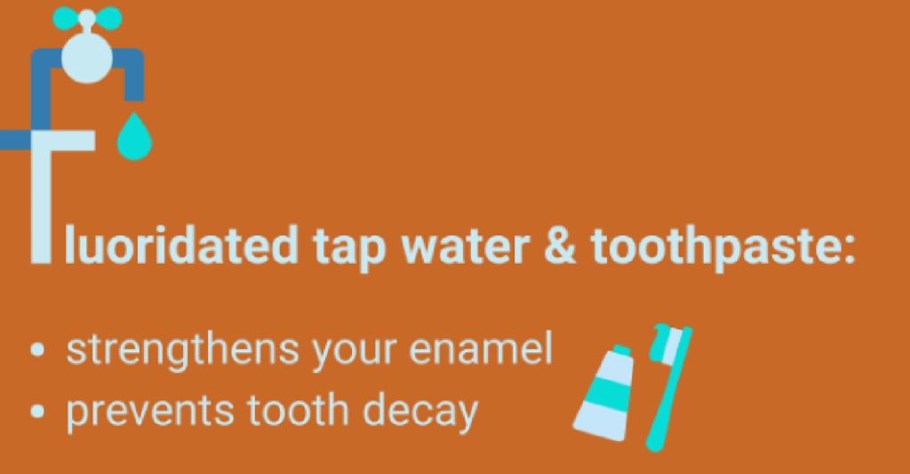 "Graphic titled ""Fluoridated tap water & Toothpaste"""