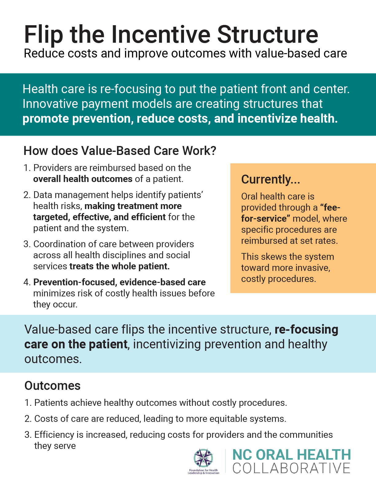"Fact sheet titled ""flip the incentive structure"" about value-based care"