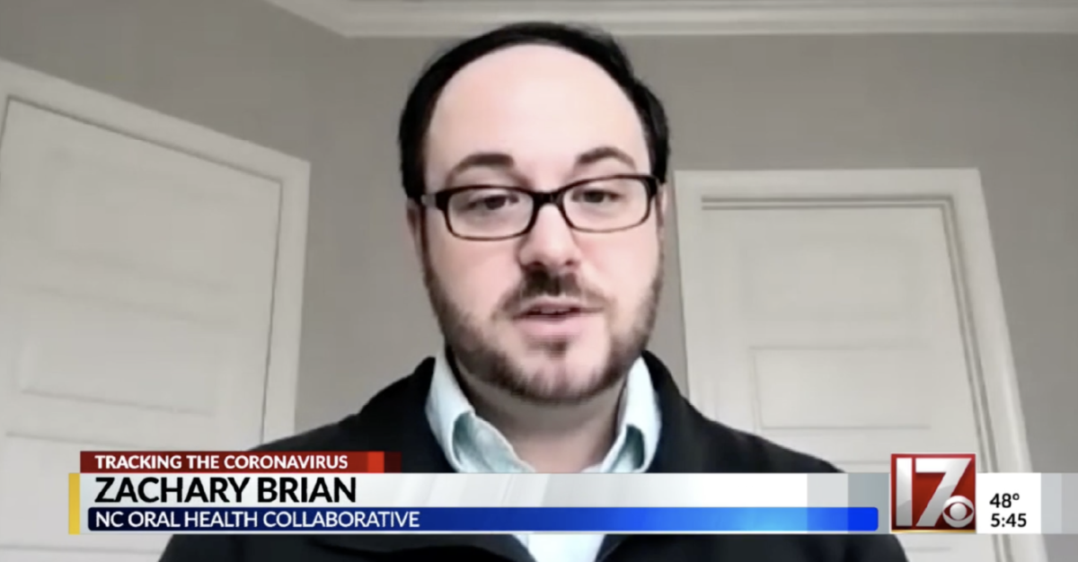 Image of Dr. Zachary Brian speaking on the CBS 17 evening news