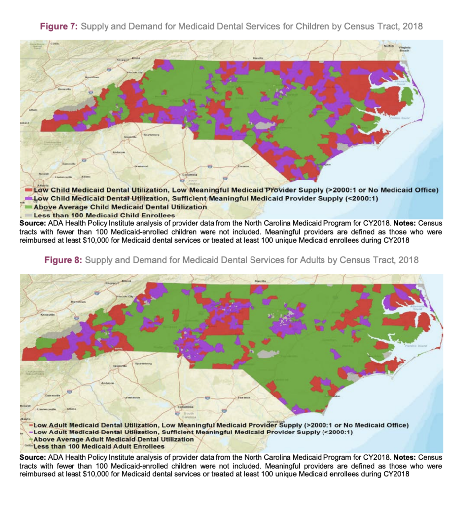 Map outlining supply versus demand for Medicaid services in NC